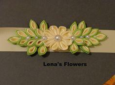 Satin Bridal Kanzashi Flower Sash. Apple Green And Ivory.