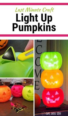 Don't pay crazy prices for Halloween decor. Make this DIY version of light up pumpkins for Halloween using plastic trick-or-treat pumpkins and some sting lights. #stackedpumpkins #halloweendecor #halloweencraft #lightedpumpkins