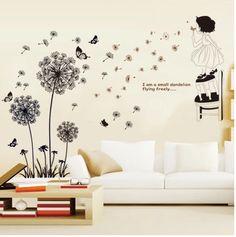 创意墙贴浪漫温馨客厅卧室床头贴画宿舍墙壁装饰墙上贴纸蒲公英花