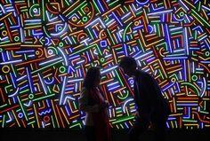 De plattegrond van Shanghai in neon