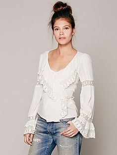 Free People FP ONE Ruffle Surplice Top