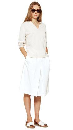 WOMEN SPRING SUMMER 15 - Ecru cashmere jumper, off white cotton skirt (MHL), brown acetate sunglasses, white/tan canvas/leather sandal