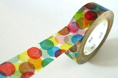 Spots Japanese Washi Tape MT  RED YELLOW Colorful par PrettyTape, $4,00