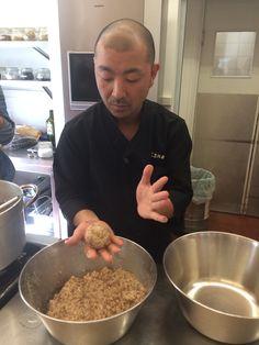 "Making ""mash"" balls before fermentation starts. Fushiki san at La Cucina Italiana ""miso class"""