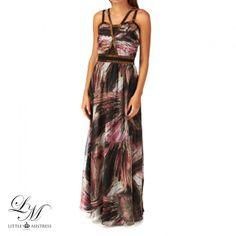 Women's Little Mistress Abstract Print Embellished Detail Chiffon Maxi Dress - Abstract Print