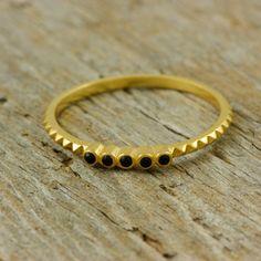 Pyramid diamond ring 14K solid gold ring black by KyklosJewelryLab