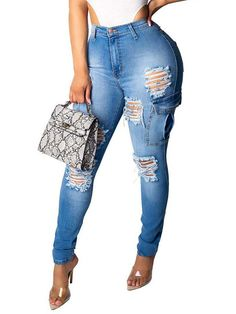 Women Push Up High Waist Hole Skinny Jeans Chic Style Sexy Ripped Pencil Pants Pocket Jeans Casual Trousers Fashion Wear, Denim Fashion, Fashion Pants, Fashion Outfits, Womens Fashion, Blue Ripped Jeans, Denim Pants, Trousers, Jeans Leggings