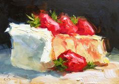CHEESECAKE-COLORFUL-STILL-LIFE-5x7-OIL-PAINTING-ON-MASONITE-PANEL-by-TOM-BROWN
