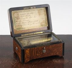 small Victorian thuya wood and ebony cased cylinder music box, 5.25in.