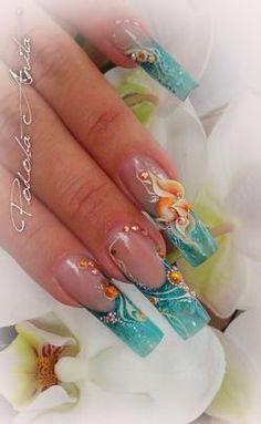 This color-combo rocks - - French Acrylic Nails, French Nail Art, Long Acrylic Nails, Fabulous Nails, Gorgeous Nails, Pretty Nails, Bright Nail Designs, Nail Art Designs, Crazy Nail Art