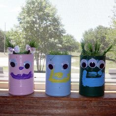 These Tin Can Friends are a great Spring project for the kids.