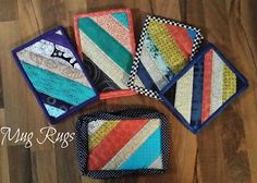 Novice Beginnings: Mug Rugs & Potholders Under Construction Mug Rug Tutorial, Purse Tutorial, Sewing Crafts, Sewing Projects, Sew Together Bag, Crafty Gemini, Mug Rug Patterns, Straight Line Quilting, Miniature Quilts