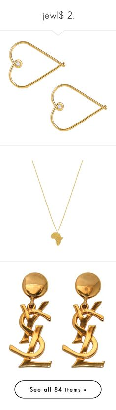 """""""jewl$ 2."""" by kennedybrooks1 ❤ liked on Polyvore featuring jewelry, earrings, accessories, yellow gold hoop earrings, gold jewelry, bow earrings, diamond heart earrings, yellow gold diamond earrings, necklaces and pendant necklaces"""