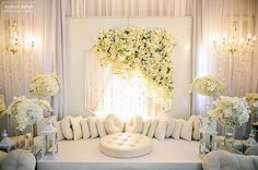 Love the high/low of flowers, and soft ambience