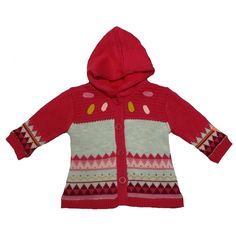 bc23d5ea0 Baby girls Catimini pink knitted hooded jumper, fleece lining and fastens  with buttons.