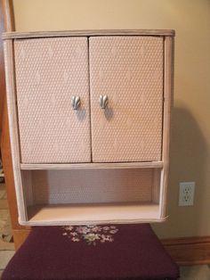 Vintage REDMON? Large Bathroom Pink Wicker Wall Cabinet Shelf 2 Door 1950's EC #Redmon