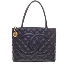 Chanel Pre-Owned Chanel Medallion Tote Caviar ($1,470) ❤ liked on Polyvore featuring bags, handbags, tote bags, black, zippered tote, leather tote, zip top tote, black leather tote and black purse