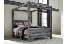 Baystorm - Gray - Queen Canopy Bed by Signature Design by Ashley. Get your Baystorm - Gray - Queen Canopy Bed at Price Busters Furniture, Baltimore MD furniture store. Canopy Bedroom Sets, Queen Canopy Bed, Canopy Bed Frame, Queen Bedding, Canopy Beds, Grey Bedding, Luxury Bedding, Modern Bedding, Bedding Sets