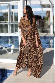 Silk chiffon. Fabric , embellished with Swarovski crystals. Stunning leopard $150.88
