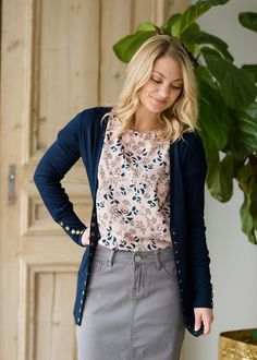How lovely is the Floral PRint Tie Sleeve Top? This is a top that you didn't know you needed until now. Versatile style comes in this lightweight, blush and flo Modest Skirts, Modest Outfits, Uniqlo Style, Thing 1, Dressy Tops, Skirt Fashion, Modest Fashion, Clothes For Women, Womens Fashion