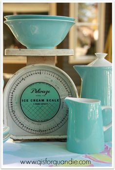 vintage ice cream scale and dishes