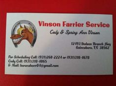 Vinson Farrier Service is accepting new clients. Cody is a 2004 graduate of Midwest Horseshoeing School specializing in corrective shoeing and problem horses. **4 week guarantee on shoes** If your horse throws a shoe, Cody will come fix it FREE of charge!! He also does goat and sheep trimming. References are available. Located in Jackson county, TN, but willing to travel. Basic rates (please contact us for other services): ~Trims - $25 ~Front Shoes (flats) - $50 ~Front Shoes (heeled) ...