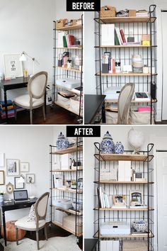 Organizing a Home Office Before and After with HomeGoods #theeverygirl