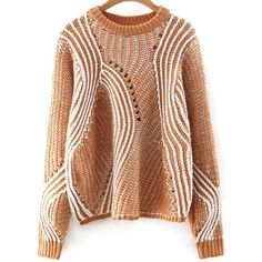 Khaki Mixed Knite Hollow Out Loose Sweater (38 BAM) ❤ liked on Polyvore featuring tops, sweaters, cut loose tops, loose sweater, loose tops, loose fit tops and brown sweater