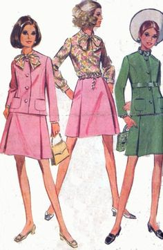 Vintage 1960s MAD MEN Suit and Blouse Sewing pattern McCalls 9601 60s Mod Sewing Pattern Size 14 Bust 36 by sandritocat on Etsy
