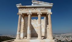 """The front of the temple of Athena Nike. The temple is Ionic order-- the volutes (""""curly capitals"""") are the clearest indication of these, followed by the simple, unadorned architrade and the frieze on top of that."""