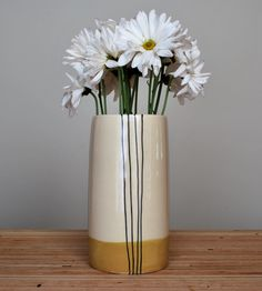 Mustard Stripe Tall Stoneware Vase | Collections Coffee & Tea | Toast Ceramics | Scoutmob Shoppe | Product Detail