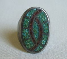 Vintage NAVAJO Sterling Silver TURQUOISE CORAL Chip Inlay RING sz 9 HUMMINGBIRD