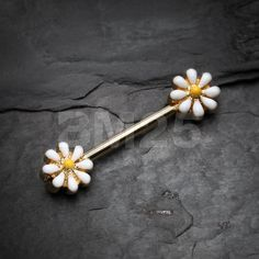 Golden Spring Blossom Flower Nipple Barbell Ring by BM25Jewelry