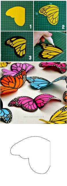 DIY mariposas de papel... Para decorar la pieza, libros etc