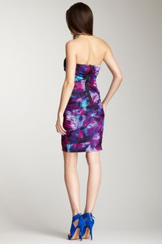 GUESS  Ruched Watercolor Tube Dress
