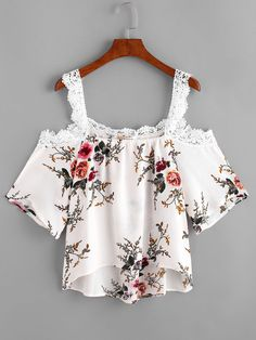 Blouse florale épaules nues-French SheIn(Sheinside)