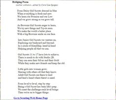 brownie to junior poem Girl Scout Bridging, Girl Scout Troop, Boy Scouts, Poems About Girls, Smile Song, Girl Scout Juniors, Daisy Girl Scouts, Brownie Girl Scouts, Fun Games For Kids
