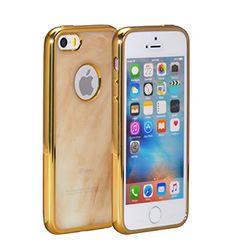 PhoneStar Premium Marmor Design TPU Case. Flexibles Backcover mit Logo-Ausschnitt für das Apple iPhone in Latte Macchiato.