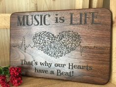 Music is Life engraved cutting board or serving board. Beautiful music themed cutting board, wonderful gift for musician or music teacher! Engraved Cutting Board, Personalized Cutting Board, Cutting Boards, Custom Engraving, Laser Engraving, Wedding Gifts For Couples, Wood Gifts, Serving Board, Corporate Gifts