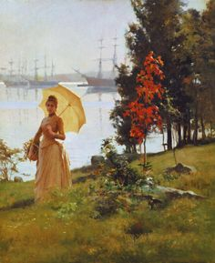 Nuori päivänvarjoa pitelevä nainen (1886-1887)