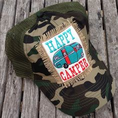 """Selling this """"Happy Camper"""" Trucker Hat in my Poshmark closet! My username is: jennae66. #shopmycloset #poshmark #fashion #shopping #style #forsale #Accessories"""