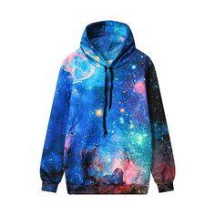 Hooded Collar Starry Sky Print Sweatshirt (€31) ❤ liked on Polyvore featuring tops, hoodies, sweatshirts, blue, long sleeve pullover, blue sweatshirt, pullover sweatshirt, print sweatshirt and blue top