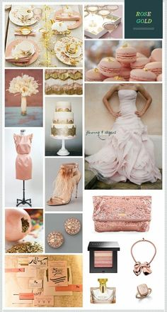 Rose Gold wedding inspiration- Haute Color Trend for Truly beautiful with so many other colors. -- rose gold is a top contender for my wedding! Gold Wedding Colors, Wedding Color Schemes, Wedding Themes, Wedding Styles, Wedding Ideas, Themed Weddings, Rose Gold Color Palette, Gold Color Palettes, Gold Palette