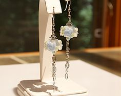 Rose Flower Earrings with Lampwork Glass Beads - Anniversary gifts for Wife - Gardener Gifts by JoannHayssenDesigns on Etsy https://www.etsy.com/listing/200252605/rose-flower-earrings-with-lampwork-glass
