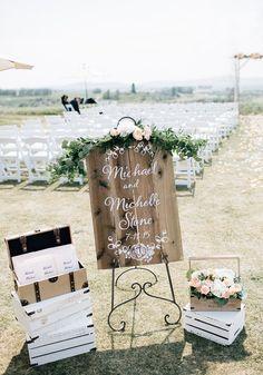 An Elegant Wedding With Rustic Charm   Weddingbells Ceremony entrance decor with floral garland at Sirocco Golf Club Flowers by Janie- Calgary Wedding Florist www.flowersbyjanie.com