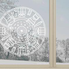 Vrolijke Sinterklaas mandala raamtekening met Amerigo, Sint, Pietjes en andere gezellige winterspulletjes.