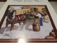 cross stitch kit, complete kit, days gone by, brewers dray, with carthorse, 14 count aida, white aida, all included by MaddisonsRainbow on Etsy