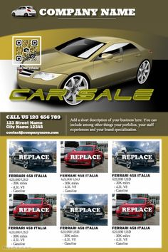 Red glossy cars for sale poster - Car dealership poster template ...