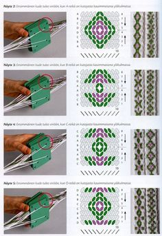 same warp, same turning, different starting position. Inkle Weaving, Inkle Loom, Card Weaving, Basket Weaving, Tablet Weaving Patterns, Weaving Textiles, Types Of Weaving, Yarn Thread, Diy Couture