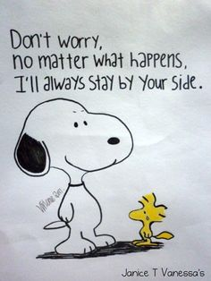 Don't worry. No matter what happens, I'll always stay by your side. - Snoopy and Woodstock
